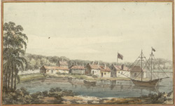 View of Oswengatchee on the River Laurence July 1765